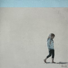 Nina - XXI Century Acrylic Painting, Minimalism, Muted Colors, Portrait, Sea