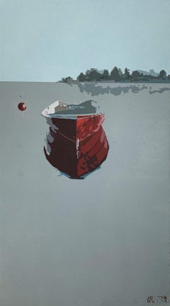 Red boat - Contemporary Figurative Acrylic Painting, Minimalism, Pop art