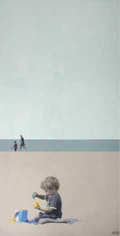 The Beach. Boy with buckets - Figurative Painting, Landscape,  Minimalism, Muted