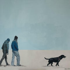 Two men with a dog - Figurative Acrylic Painting, Minimalism, Pop art, Animal