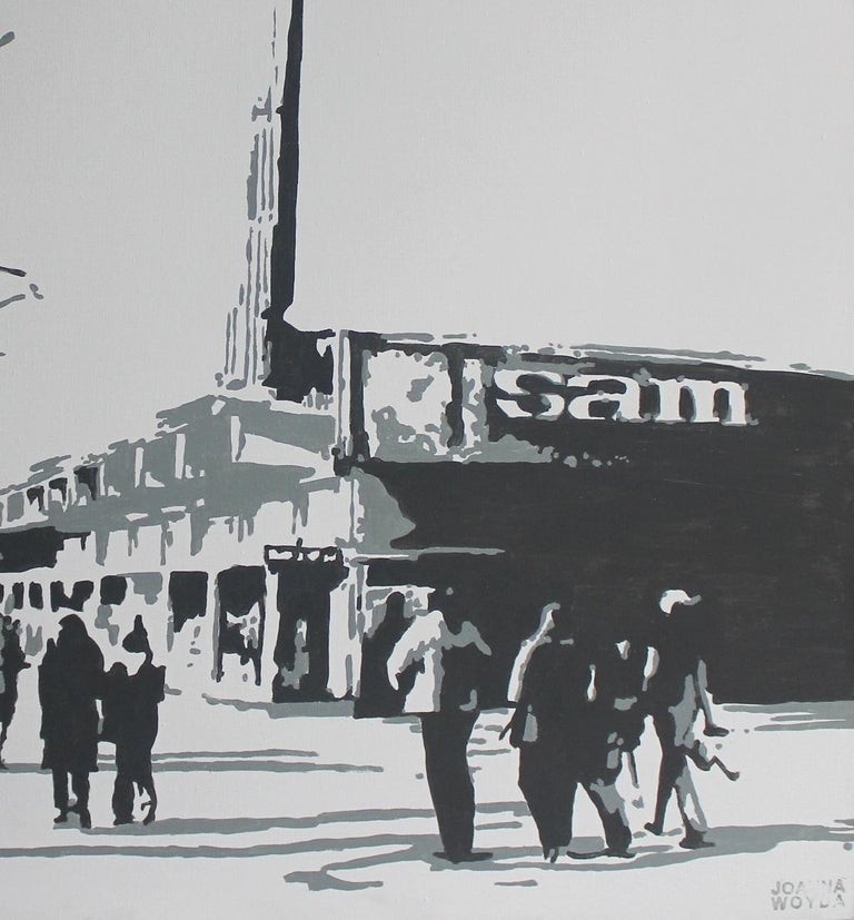 Warsaw. Sam supermarket - XXI Century, Figurative Painting, City view For Sale 3