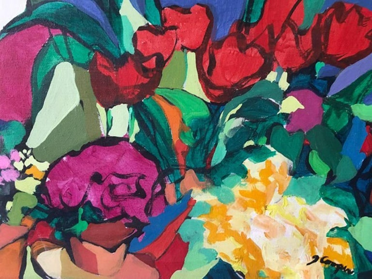 Flowers 2, Acrylic Painting, Tulips, Flowers, Red, Blue - Brown Still-Life Painting by Joanne Cooper (b.1930)