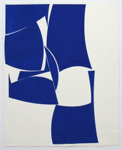 """Joanne Freeman """"Blue_30x24"""" -- Abstract Painting on Paper"""