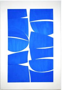 Cobalt 38- cobalt blue  gouache on handmade paper framed in white