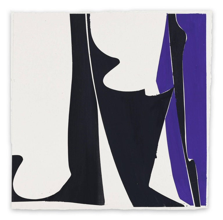 Joanne Freeman Abstract Drawing - Covers 13-Blue Black  (Abstract painting)