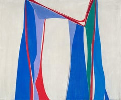 Flying Without a Net 2- Abstract oil on linen in blue, red, violet,green, red