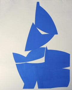 """Joanne Freeman """"Covers Cobalt a"""" Abstract Gouache Painting on Handmade Paper"""