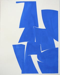 "Joanne Freeman ""Covers Cobalt"" Abstract Gouache Painting on Handmade Paper"