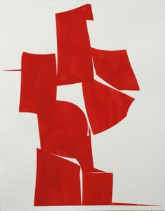 "Joanne Freeman ""Covers Red a"" Abstract Gouache Painting on Handmade Paper"