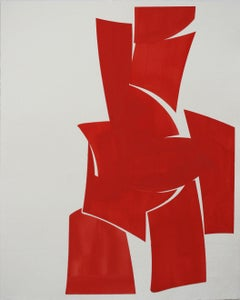 "Joanne Freeman ""Covers Red"" Abstract Gouache Painting on Handmade Paper"