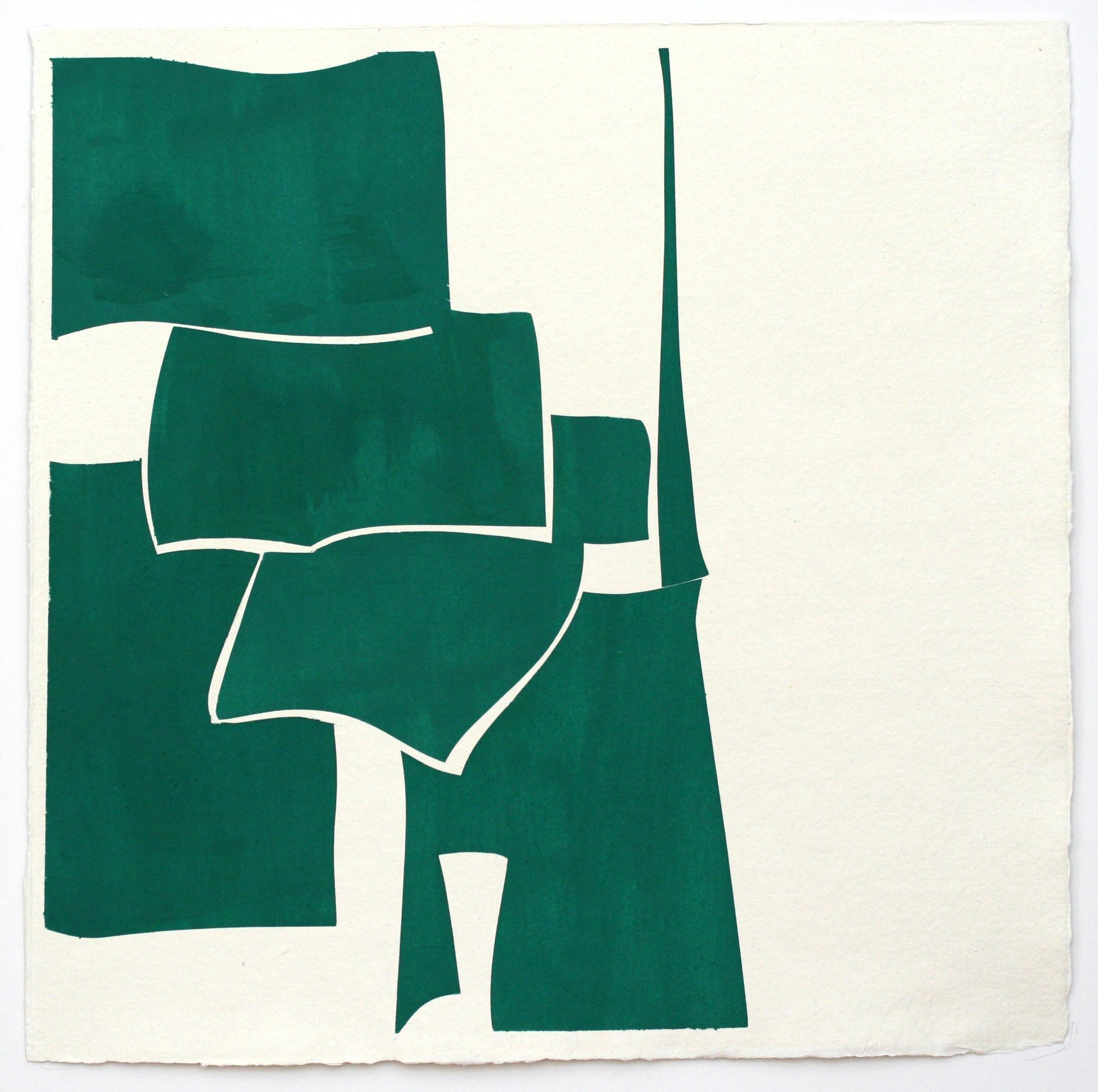 Summer H- framed geometric green gouache on handmade paper by Joanne Freeman