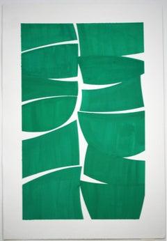 Viridian 38 A- viridian green gouache on handmade paper framed in white