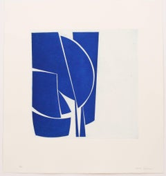 Covers 1 Cobalt, abstract aquatint print, mid-century modern influenced, blue.