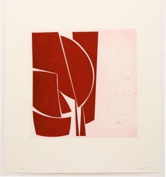 """""""Covers 1 Red"""", abstract aquatint print, mid-century modern influence, deep red."""