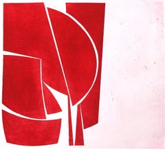 """""""Covers 1 Red"""", abstract aquatint print, mid-century modern influenced, red."""
