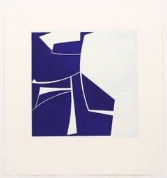Covers 2 Ultramarine, abstract aquatint, mid-century modern influenced, deepblue