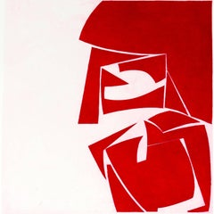 Covers 3 Red, abstract aquatint print, mid-century modern influenced, deep red.