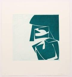 """Covers 3 Viridian"", abstract aquatint print, mid-century modern, deep green."