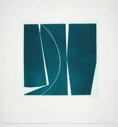 Covers 4 Viridian, abstract aquatint, mid-century modern influenced, deep green.