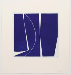 """Covers Four Ultramarine"", abstract aquatint print, Mid-century Moderm, deepblue"