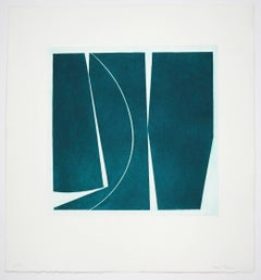 """Covers Four Viridian"", abstract aquatint print, mid-century modern, deep green."