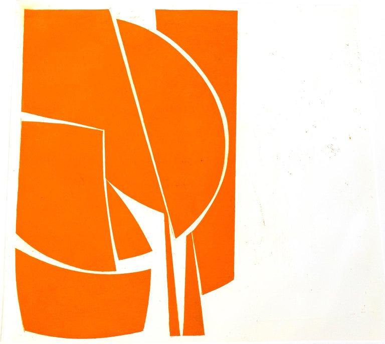 """Covers One Orange"",abstract aquatint print, mid-century modern, yellow orange For Sale 1"