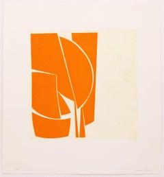 """Covers One Orange"",abstract aquatint print, mid-century modern, yellow orange"