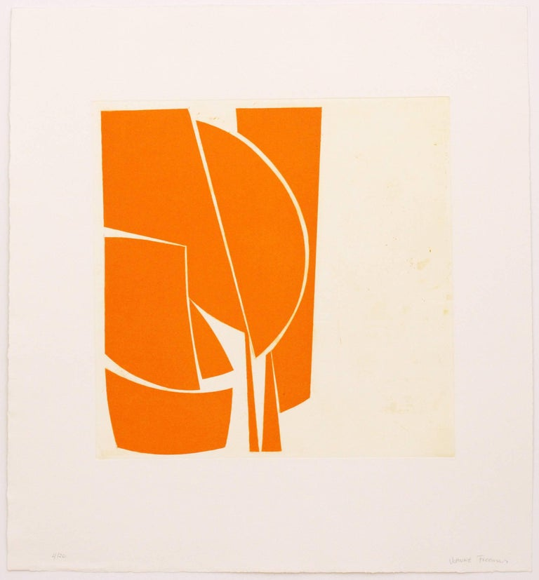 """""""Covers One Orange is a richly printed hard edged abstract aquatint etching print inspired by mid-century modernism and 1960's and 70's classic jazz album covers.  The print is printed in cadmium yellow deep on 100% cotton rag paper, hand signed in"""