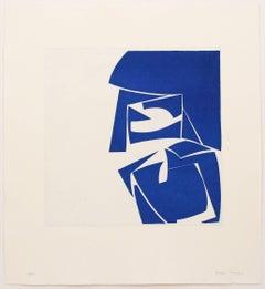 """Covers Three Cobalt"", abstract aquatint print, mid-century modern, blue."