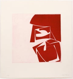 Covers Three Red, abstract aquatint print, mid-century modern, deep red.