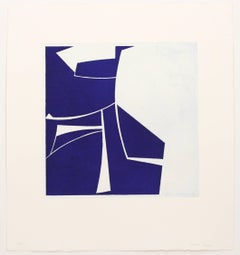 Covers Two Ultramarine, abstract aquatint print, mid-century modern, deepblue