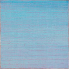 Silk Road 223, Color Field Square Encaustic Painting in Light Blue and Coral