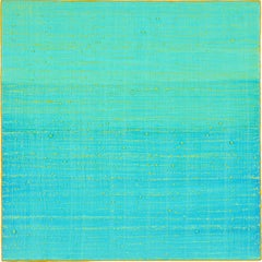 Silk Road 241, Square Color Field Encaustic Painting in Teal Blue and Green