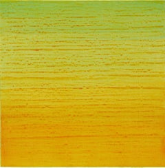 Silk Road 252, Square Encaustic Color Field Painting in Green, Yellow, Orange