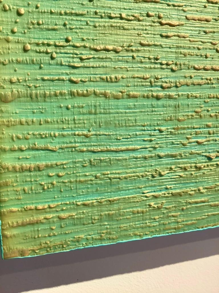 Silk Road 261, Aqua Green, Pale Yellow Encaustic Color Field Square Painting For Sale 8