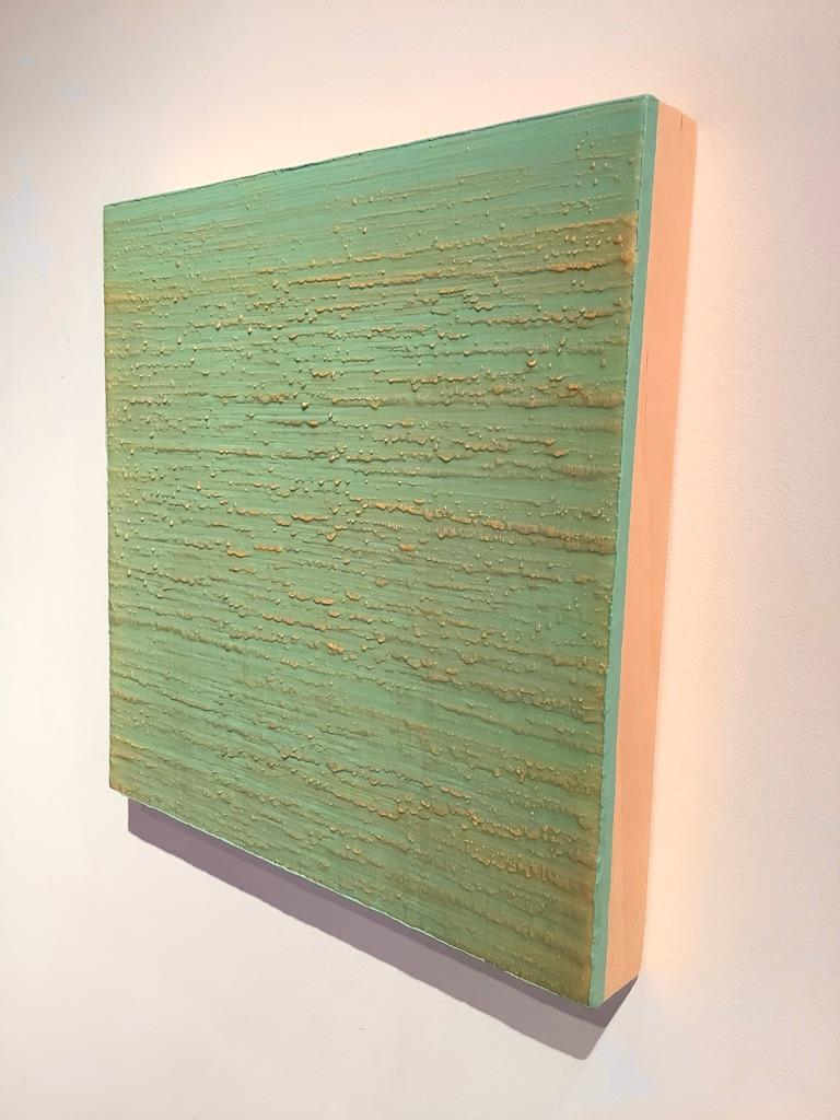 Silk Road 261, Aqua Green, Pale Yellow Encaustic Color Field Square Painting For Sale 4