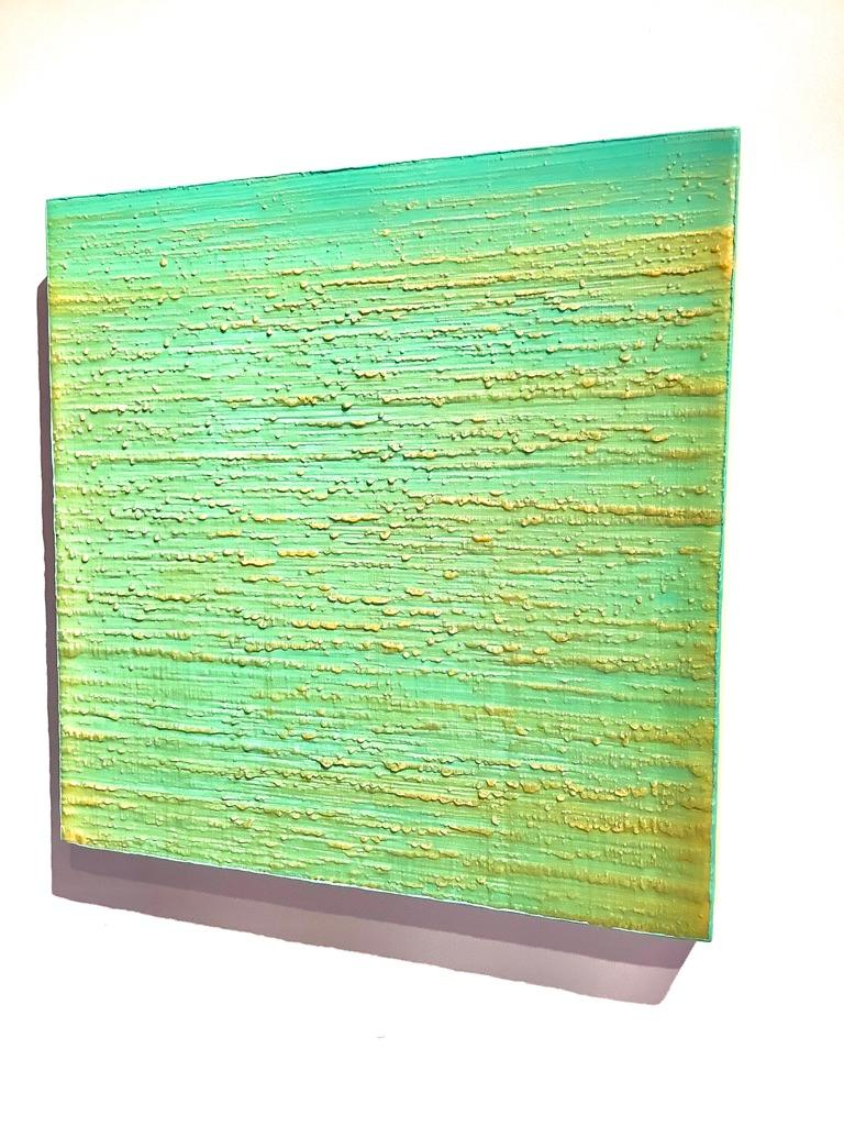 Silk Road 261, Aqua Green, Pale Yellow Encaustic Color Field Square Painting For Sale 5