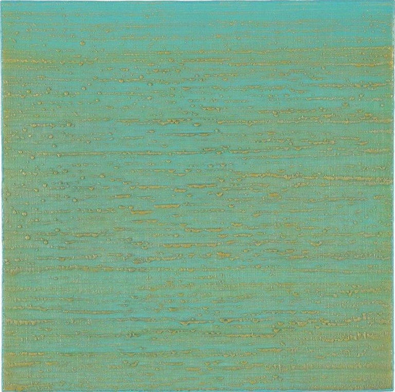 Joanne Mattera Abstract Painting - Silk Road 261, Aqua Green, Pale Yellow Encaustic Color Field Square Painting