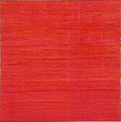 Silk Road 278, Square Encaustic Color Field Painting in Bright Crimson Red