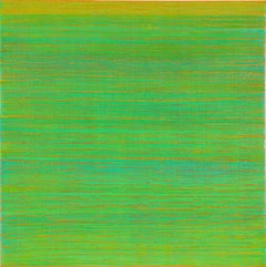 Silk Road 356, Square Encaustic Color Field Painting in Bright Green and Peach