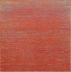 Silk Road 358, Square Encaustic Painting in Red with Light Blue, Pale Purple