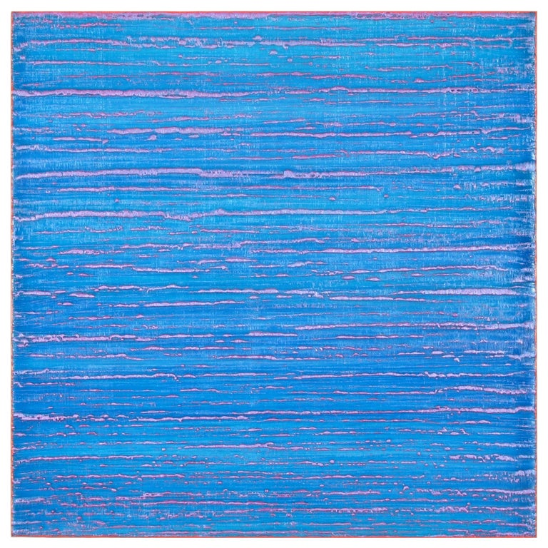 Silk Road 375, 2017, encaustic on panel, 12 x 12 x 2 inches - Blue Abstract Painting by Joanne Mattera