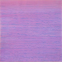 Silk Road 410, Encaustic Square Color Field Painting in Light Purple and Blue
