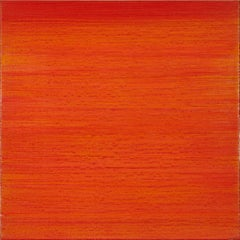 Silk Road 411, Square Encaustic Color Field Painting on Panel in Red and Orange