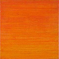 Silk Road 412, Square Encaustic Color Field Painting in Bright Orange