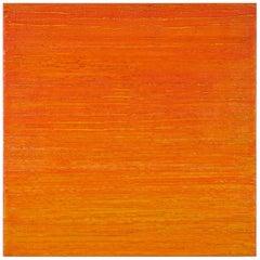 Silk Road 412, Vibrant Bright Orange Square Color Field Encaustic Painting