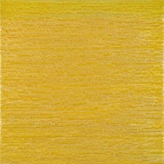 Silk Road 413, Square Encaustic Color Field Painting in Bright Yellow
