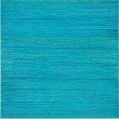 Silk Road 414, Square Encaustic Painting in Bright Turquoise Blue and Teal
