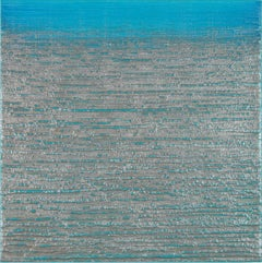 Silk Road 415, Square Encaustic Color Field Painting in Metallic Silver and Blue