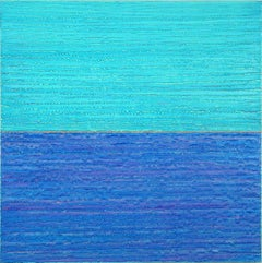 Silk Road 442, Square Color Field Encaustic Painting in Cobalt Blue, Bright Teal